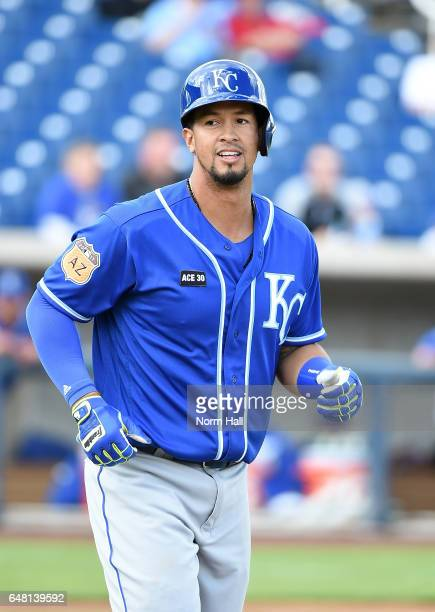 Cheslor Cuthbert of the Kansas City Royals runs to first base against the Milwaukee Brewers at Maryvale Baseball Park on February 28 2017 in Phoenix...