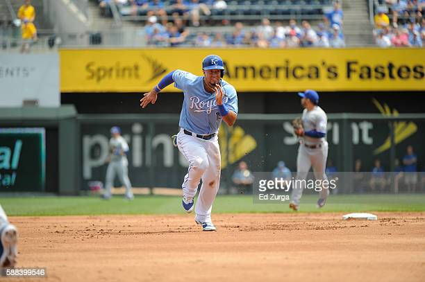 Cheslor Cuthbert of the Kansas City Royals runs to third as he advances against the Toronto Blue Jays at Kauffman Stadium on August 7 2016 in Kansas...