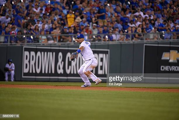 Cheslor Cuthbert of the Kansas City Royals throws to first for the out against the Toronto Blue Jays at Kauffman Stadium on August 6 2016 in Kansas...