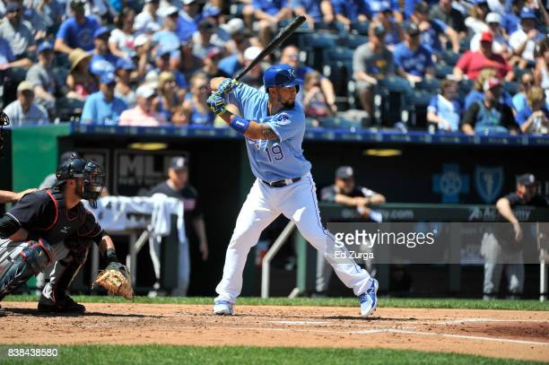 Cheslor Cuthbert of the Kansas City Royals'nbats against the Cleveland Indians at Kauffman Stadium on August 20 2017 in Kansas City Missouri