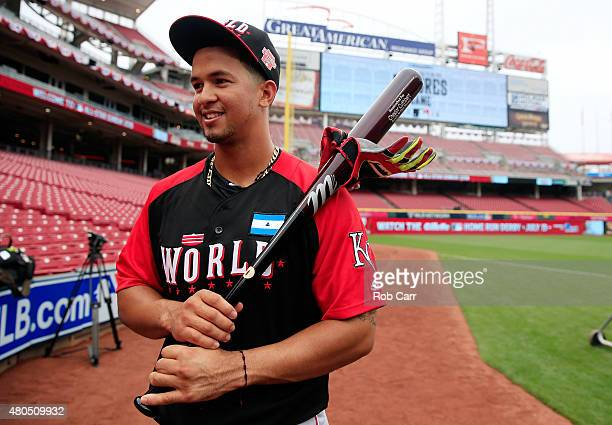 Cheslor Cuthbert of the World Team poses on the field prior to the SiriusXM All-Star Futures Game at the Great American Ball Park on July 12, 2015 in...