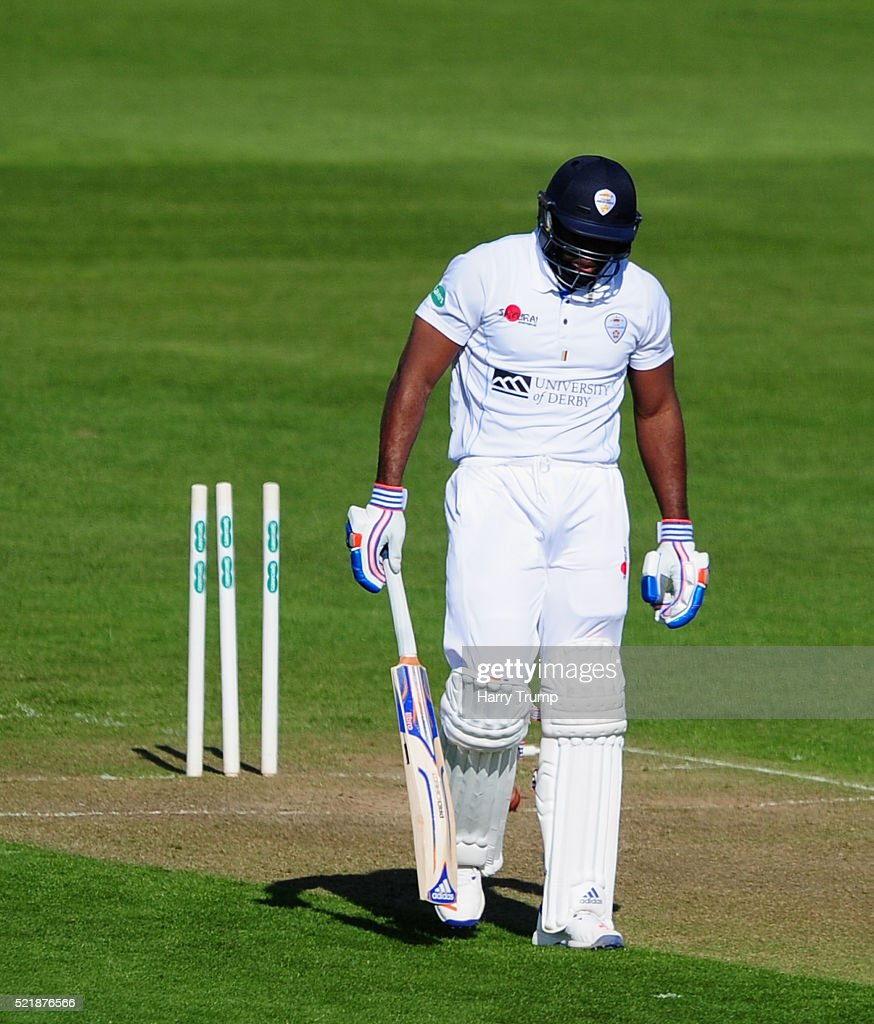 Chesney Hughes of Derbyshire cuts a dejected figure after being dismissed for 96 during Day One of the Specsavers County Championship Division Two match between Gloucestershire and Derbyshire at The County Ground on April 17, 2016 in Bristol, England.