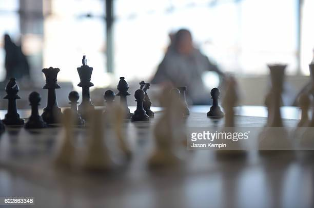 Chess board during 2016 World Chess Championship at Fulton Market Building on November 12 2016 in New York City