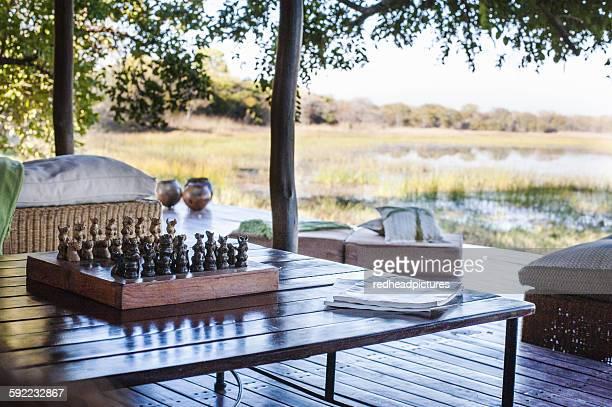 Chess board on table at safari lodge, Kafue National Park, Zambia