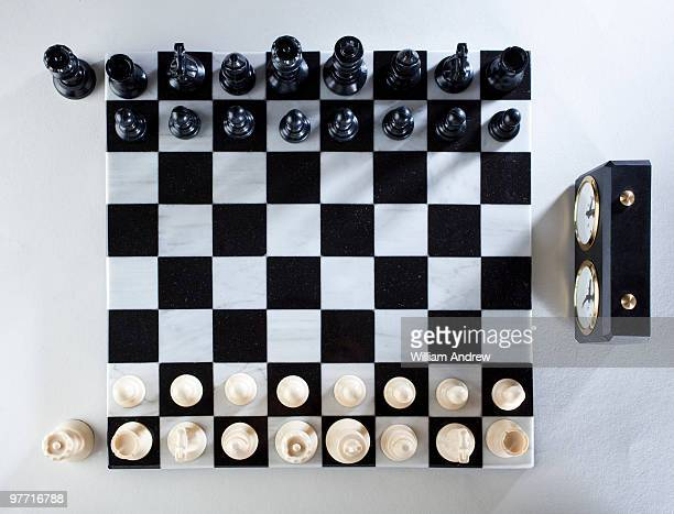 Chess board, overhead view