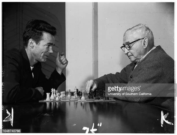 Chess Club Monterey Park 18 April 1952 Charles McCully 70Calvin Will 38FF Eddy 82NP Nelson 79William F Salt 69Caption slip reads 'Photographer...