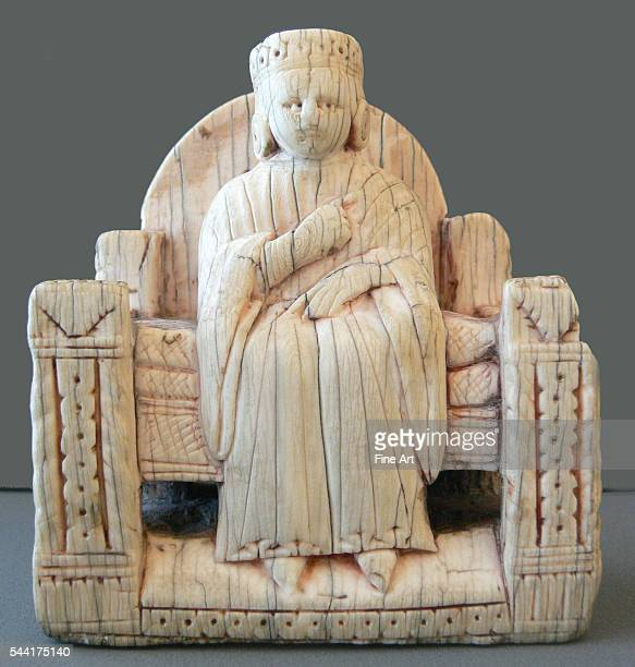 Chess figure of a queen enthroned from a collection of chess pieces from Italy Central and Northern Europe made from ivory or walrus teeth 12th to...