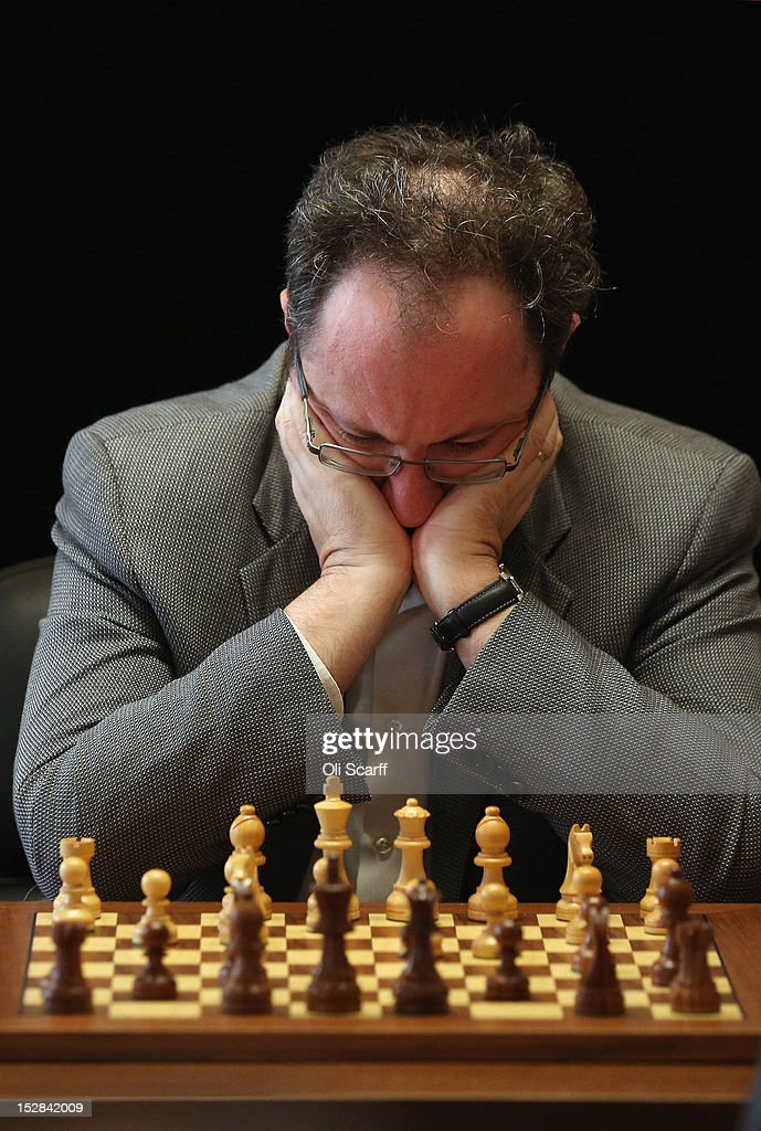 Chess Grandmaster Boris Gelfand plays in round 6 of the World Chess London Grand Prix at Simpson's-in-the-Strand on September 27, 2012 in London, England. The event, which begins the 2012/13 World Chess Championship Cycle, runs until October 3, 2012 and takes place over 11 rounds. The London Grand Prix is the first tournament in an ambitious, high-profile rebranding of world chess by American-born entrepreneur Andrew Paulson whose intention is to regain the global popularity chess enjoyed in the 1970s with matches between American Bobby Fischer and the Soviet Union's Boris Spassky.