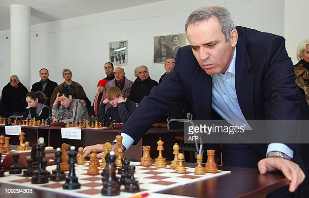 Chess grandmaster, former World Chess Champion and one of the leaders of Russian political opposition Garry Kasparov plays simultaneous chess games...