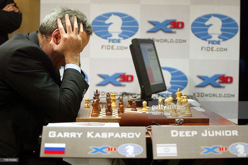 Kasparov Versus Deep Junior : News Photo