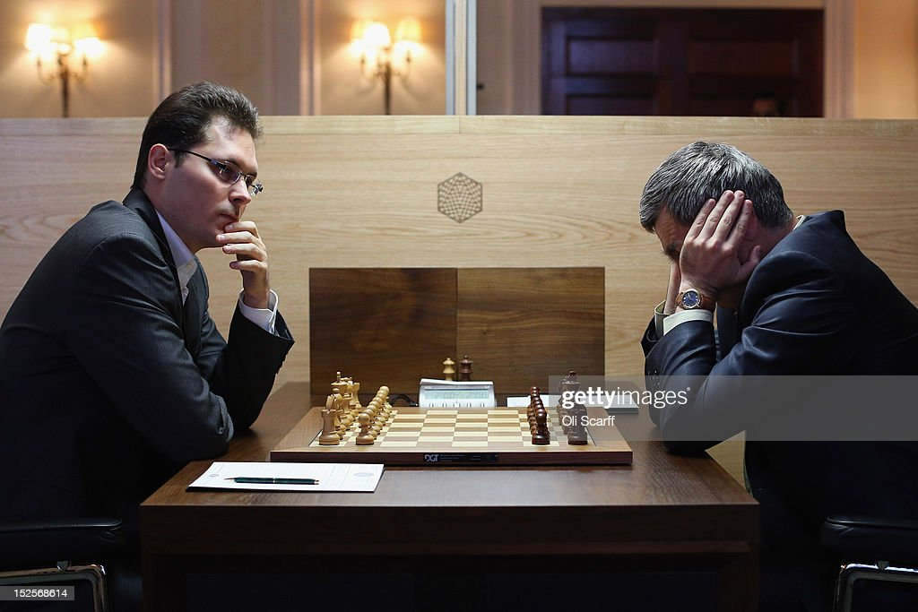 Chess Grandmaster Peter Leko (L) plays Vassily Ivanchuk in the World Chess London Grand Prix at Simpson's-in-the-Strand on September 22, 2012 in London, England. The event, which begins the 2012/13 World Chess Championship Cycle, runs until October 3, 2012 and takes place over 11 rounds. The London Grand Prix is the first tournament in an ambitious, high-profile rebranding of world chess by American-born entrepreneur Andrew Paulson whose intention is to regain the global popularity chess enjoyed in the 1970s with matches between American Bobby Fischer and the Soviet Union's Boris Spassky.