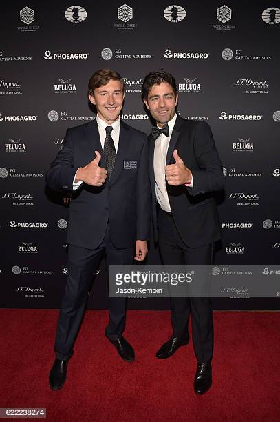 Chess grandmaster Sergey Karjakin and Actor host Adrian Grenier attend 2016 Gala Opening for World Chess Championship at The Plaza Hotel on November...