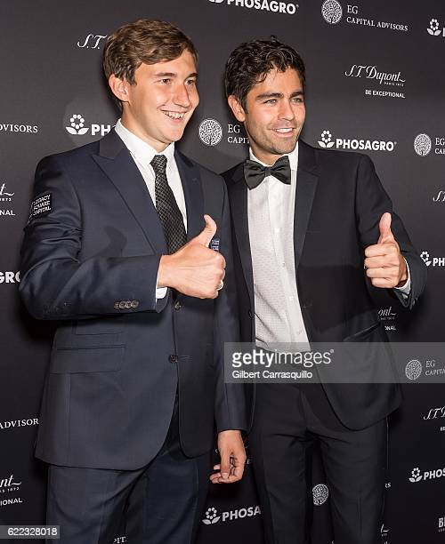 Chess grandmaster Sergey Karjakin and Actor host Adrian Grenier attend the 2016 World Chess Championship Match Opening Ceremony at The Plaza Hotel on...