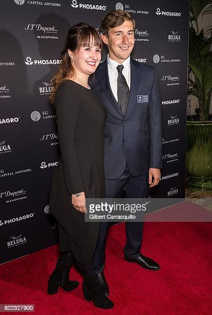 Chess grandmaster Sergey Karjakin and wife Galia Karjakin attend the 2016 World Chess Championship Match Opening Ceremony at The Plaza Hotel on...