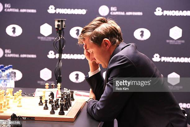 Chess grandmaster Sergey Karjakin is seen during the game against Reigning Chess Champion Magnus Carlsen at 2016 World Chess Championship at Fulton...