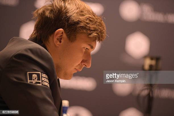 Chess grandmaster Sergey Karjakin reacts during the game against Reigning Chess Champion Magnus Carlsen at 2016 World Chess Championship at Fulton...