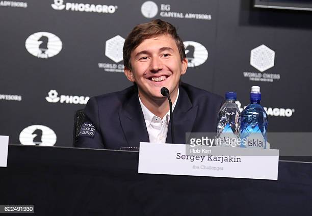 Chess grandmaster Sergey Karjakin speaks during a press conference at 2016 World Chess Championship at Fulton Market Building on November 11 2016 in...