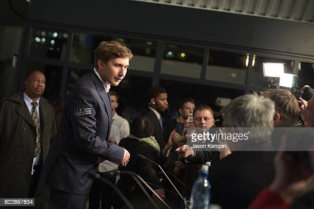 Chess grandmaster Sergey Karjakin speaks during the press conference after a draw at 2016 World Chess Championship at Fulton Market Building on...