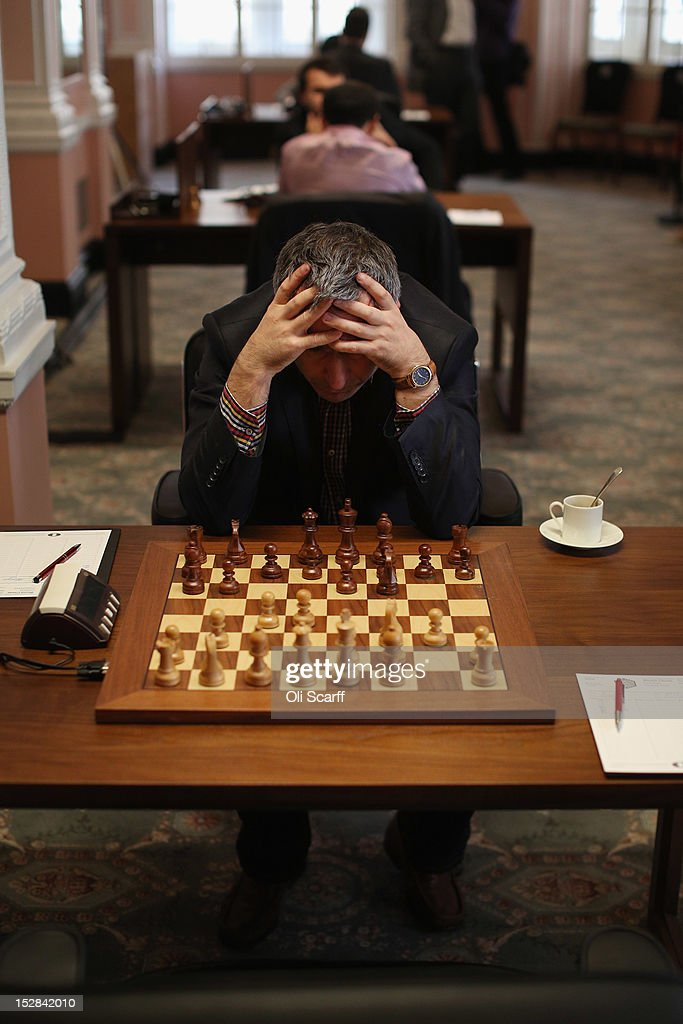 Chess Grandmaster Vassily Ivanchuk plays in round 6 of the World Chess London Grand Prix at Simpson's-in-the-Strand on September 27, 2012 in London, England. The event, which begins the 2012/13 World Chess Championship Cycle, runs until October 3, 2012 and takes place over 11 rounds. The London Grand Prix is the first tournament in an ambitious, high-profile rebranding of world chess by American-born entrepreneur Andrew Paulson whose intention is to regain the global popularity chess enjoyed in the 1970s with matches between American Bobby Fischer and the Soviet Union's Boris Spassky.