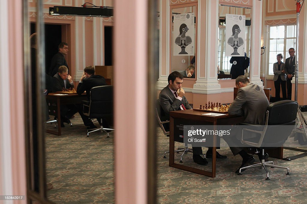 Chess Grandmasters Veselin Topalov (R) and Leinier Dominguez Perez (C) play in round 6 of the World Chess London Grand Prix at Simpson's-in-the-Strand on September 27, 2012 in London, England. The event, which begins the 2012/13 World Chess Championship Cycle, runs until October 3, 2012 and takes place over 11 rounds. The London Grand Prix is the first tournament in an ambitious, high-profile rebranding of world chess by American-born entrepreneur Andrew Paulson whose intention is to regain the global popularity chess enjoyed in the 1970s with matches between American Bobby Fischer and the Soviet Union's Boris Spassky.