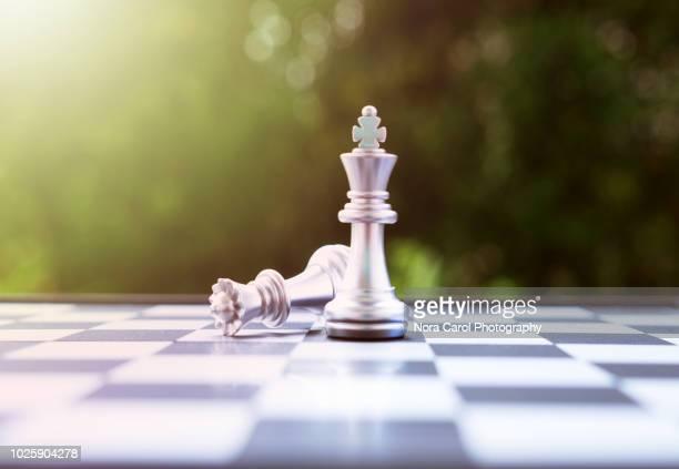 chess king and queen - niederlage stock-fotos und bilder