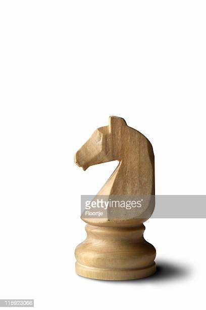 chess: knight (white) isolated on white background - chess piece stock pictures, royalty-free photos & images