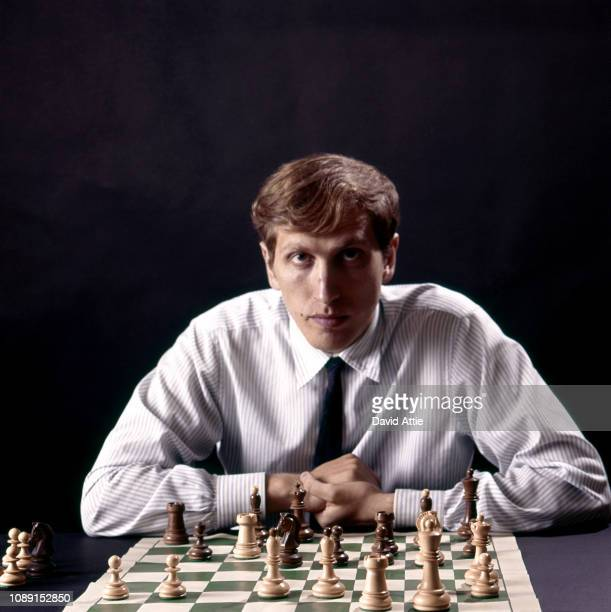 Chess master Bobby Fischer poses for a portrait in the photographer's home in 1971 in New York City New York