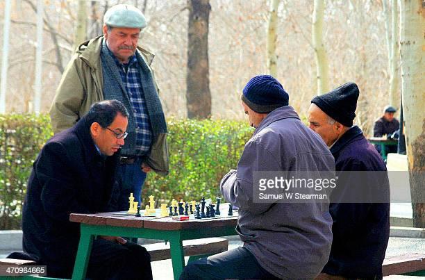 Chess Match in Leleh Park in Central Tehran, Iran