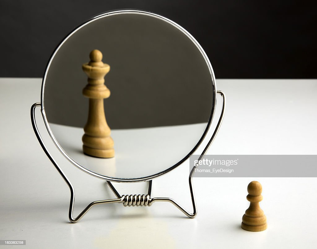 Chess Pawn Imagining Itself as a Queen. : Stock Photo