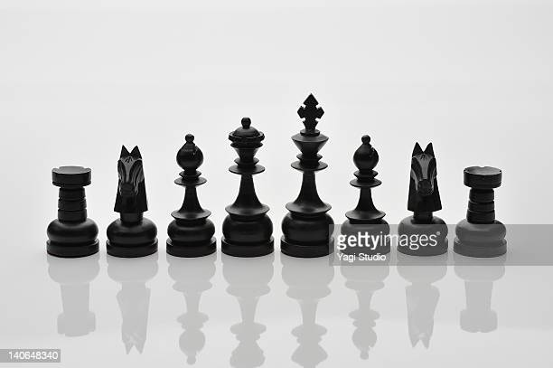 Chess pieces are lined up