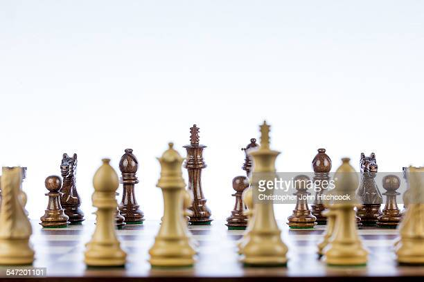 Chess pieces lined up on the board, ready to play, with the opposition pieces across the board in focus, and the closer pieces out of focus.