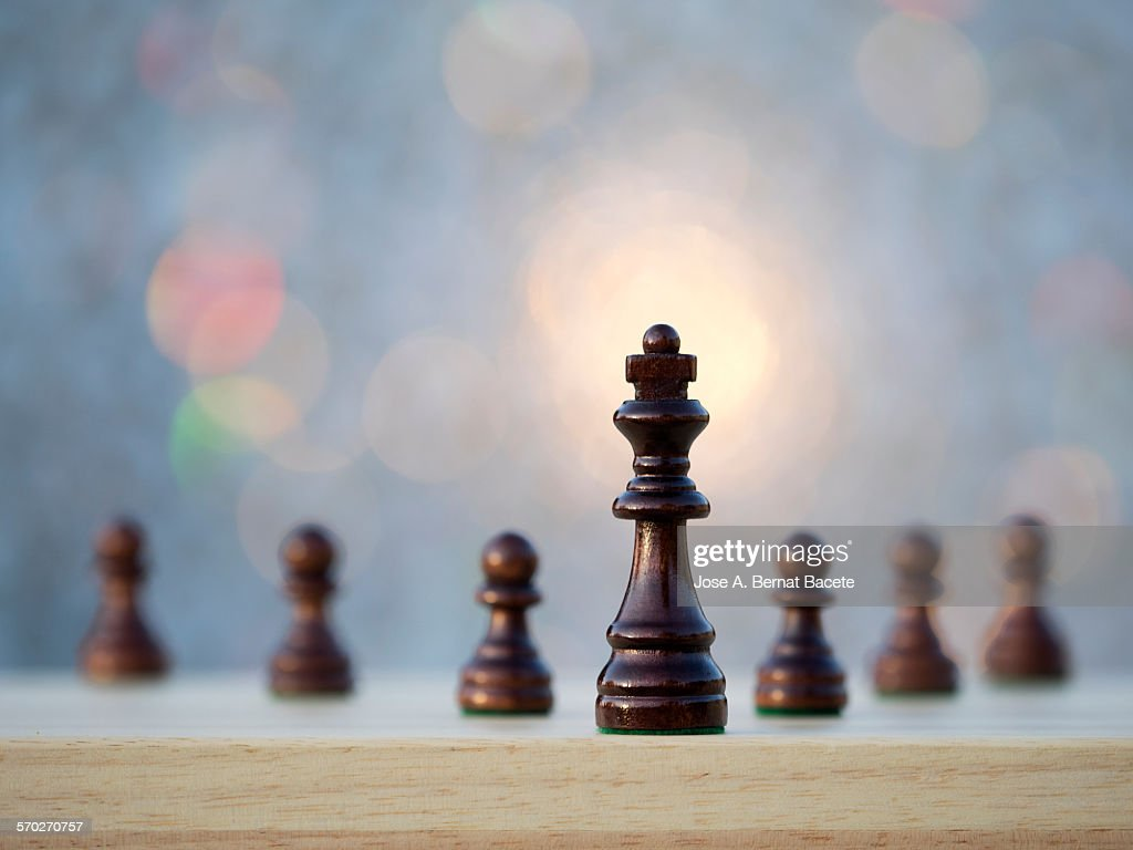 Chess pieces on a game board. : Stock Photo