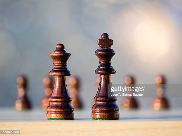 Chess pieces on a game board