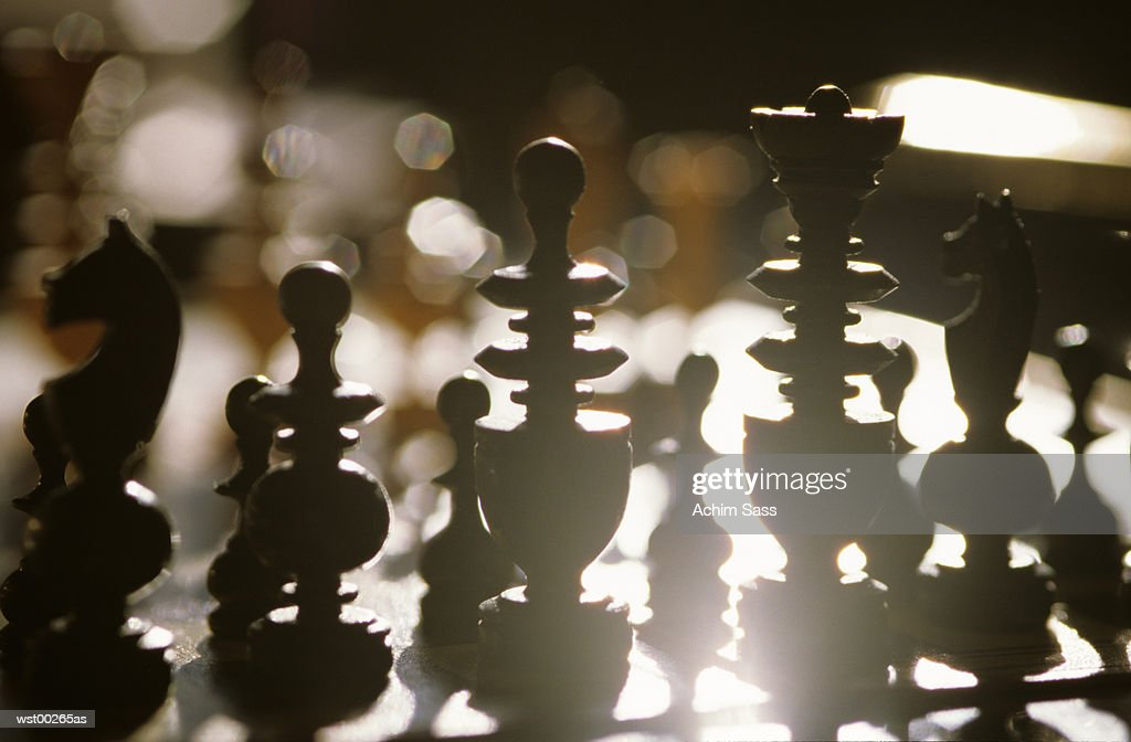 Chess pieces, silhouette : Foto de stock