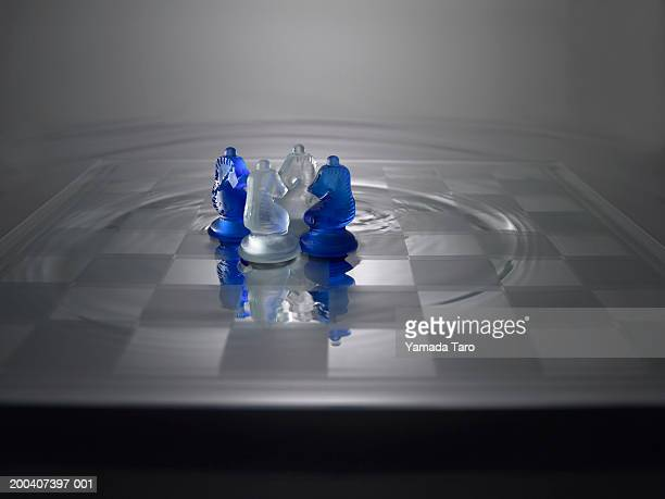 Chess pieces with water on board