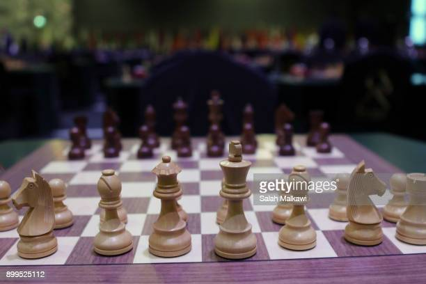 Chess players compete on the day 5 of the King Salman Rapid Blitz Chess Championships on December 29 2017 in Riyadh Saudi Arabia The Championship is...