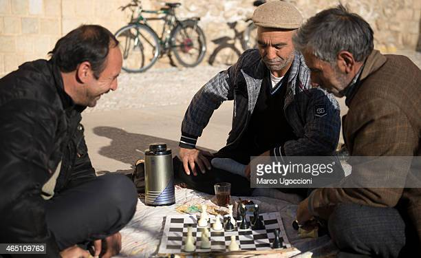 Chess players in a square in Isfahan, Iran, 31st December 2013