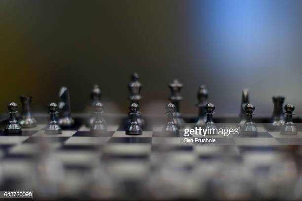 A chess set with the value of 3800 GDP is displayed at Sharps Pixley Bullion Brokers on December 15 2015 in London England The brand established in...