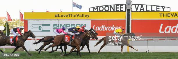 Chess Star ridden by Mark Zahra wins the Simpson Construction Valley Pearl at Moonee Valley Racecourse on March 23 2018 in Moonee Ponds Australia