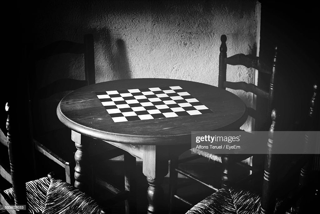 Chess Table And Chairs : Foto stock