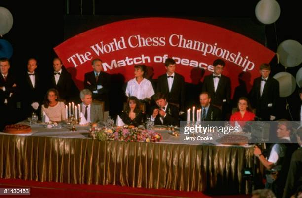 Chess World Championship Bobby Fischer Boris Spassky and other players during opening ceremonies Sveti Stefan SCG 9/2/1992