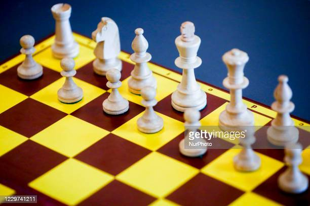Chessboard is pictured during Junior Speed Chess Championship in Krakow, Poland on November 21, 2020.