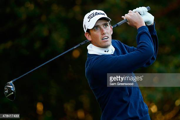 Chesson Hadley hits a tee shot on the 11th hole during the first round of the Valspar Championship at Innisbrook Resort and Golf Club on March 13...