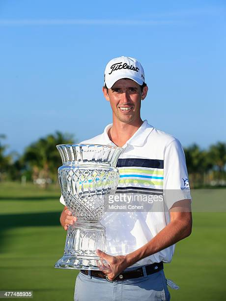 Chesson Hadley holds the trophy after the final round of the Puerto Rico Open presented by seepuertoricocom held at Trump International Golf Club on...