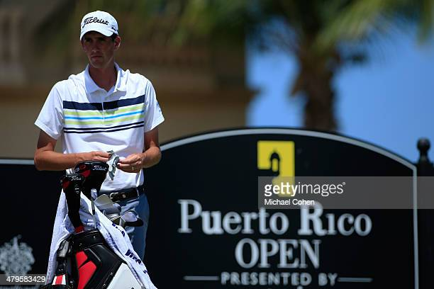 Chesson Hadley looks on at the first tee box during the final round of the Puerto Rico Open presented by seepuertoricocom held at Trump International...