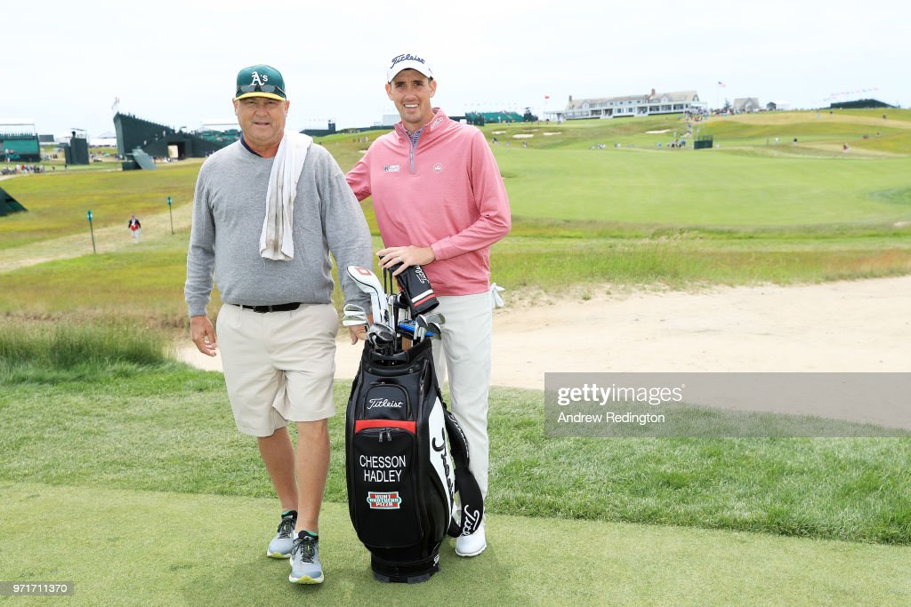 Chesson Hadley of the United States and his caddie pose during practice rounds prior to the 2018 U.S. Open at Shinnecock Hills Golf Club on June 11, 2018 in Southampton, New York.