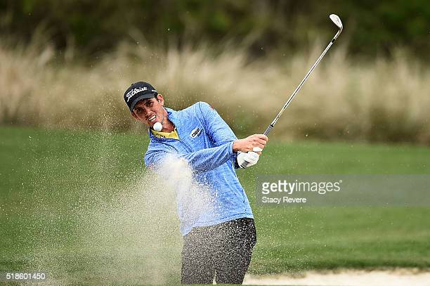 Chesson Hadley of the United States hits from a green side bunker on the fifth hole during the second round of the Shell Houston Open at the Golf...