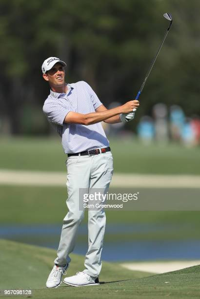 Chesson Hadley of the United States plays a shot on the sixth hole during the first round of THE PLAYERS Championship on the Stadium Course at TPC...
