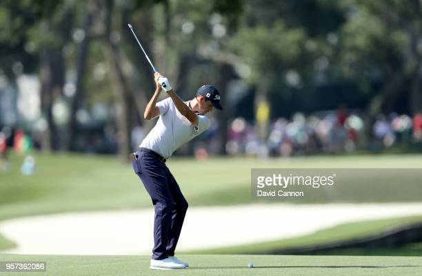 Chesson Hadley of the United States plays his second shot on the par 5 11th hole during the second round of the THE PLAYERS Championship on the...