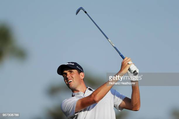 Chesson Hadley of the United States plays his second shot on the fifth hole during the second round of THE PLAYERS Championship on the Stadium Course...